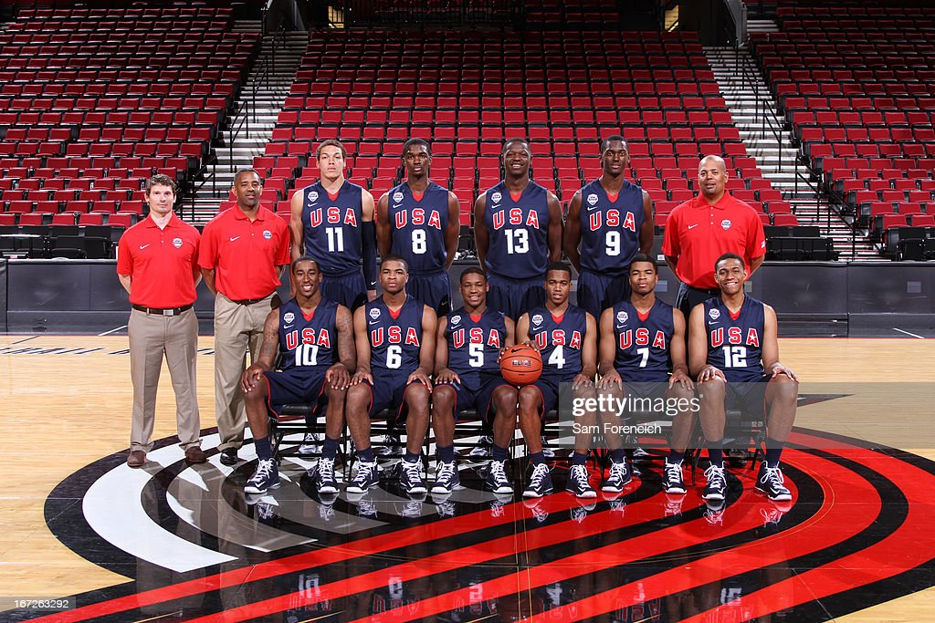 The USA Junior Select Team takes a photo before the 2013 Nike Hoop Summit game against the World Select Team on April 20, 2013 at the Rose Garden Arena in Portland, Oregon.