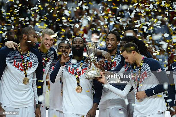 The USA Men's National Team celebrates on the podium with the World Cup after defeating the Serbia National Team in the 2014 FIBA World Cup Finals at...