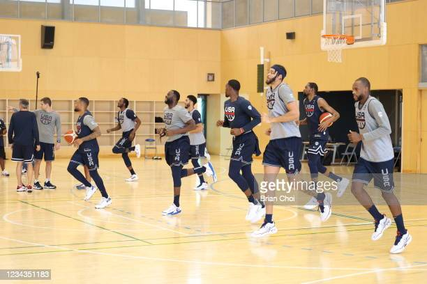 The USA Men's National Team warms up during USAB Mens National Team practice on July 29, 2021 in Tokyo, Japan. NOTE TO USER: User expressly...