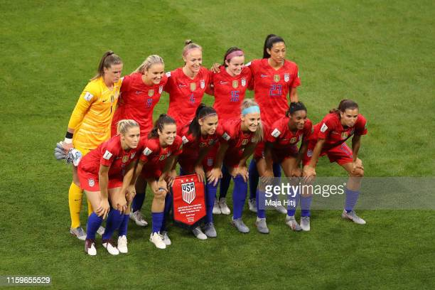 The USA players pose for a team photo prior to the 2019 FIFA Women's World Cup France Semi Final match between England and USA at Stade de Lyon on...