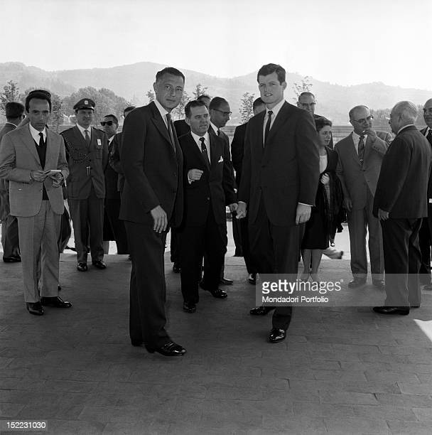 The USA President's brother Ted Kennedy is photographed with Gianni Agnelli who acts as his guide as president of the International Job Exhibition...