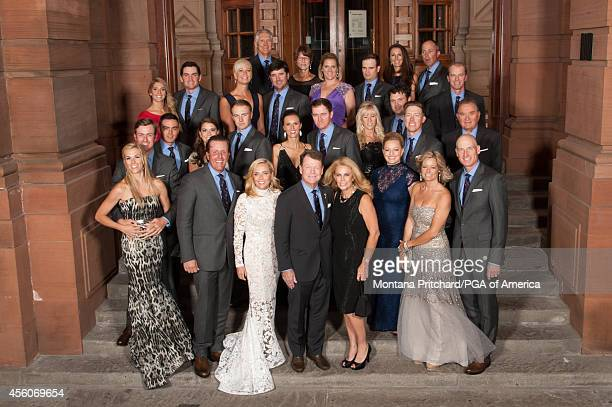 The USA Ryder Cup Team and their wives/partners during the Gala for the 40th Ryder Cup at the SSE Hydro on September 24 2014 in Glasgow Scotland