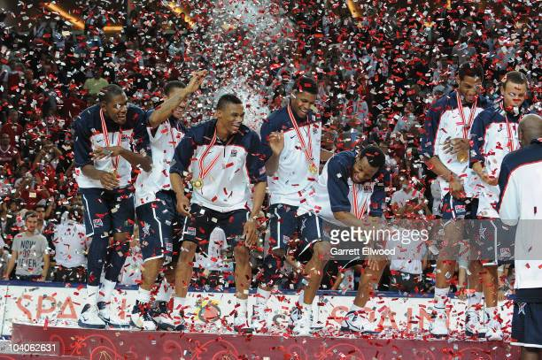The USA Senior Men's National Team celebrate following the game against Turkey during the 2010 World Championships of Basketball on September 12,...