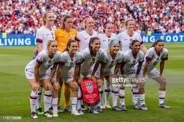The USA Squad poses for team photo during the 2019 FIFA Women's World Cup France Quarter Final match between France and USA at Parc des Princes on...