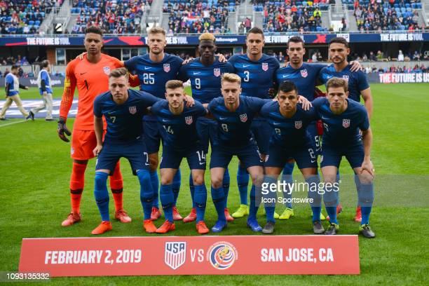 The USA starting squad before the international friendly match between USA and Costa Rica at Avaya Stadium on February 2 2019 in San Jose CA