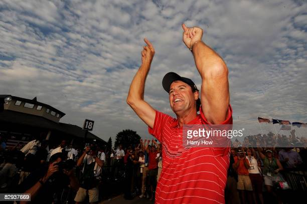 The USA team captain Paul Azinger celebrates after the USA 16 1/2 11 1/2 victory on the final day of the 2008 Ryder Cup at Valhalla Golf Club on...