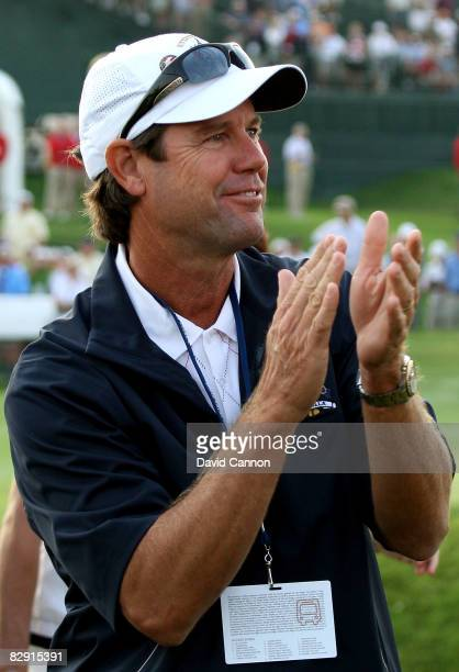 The USA team captain Paul Azinger waits near the first tee during the morning foursomes of day one of the 2008 Ryder Cup at Valhalla Golf Club on...