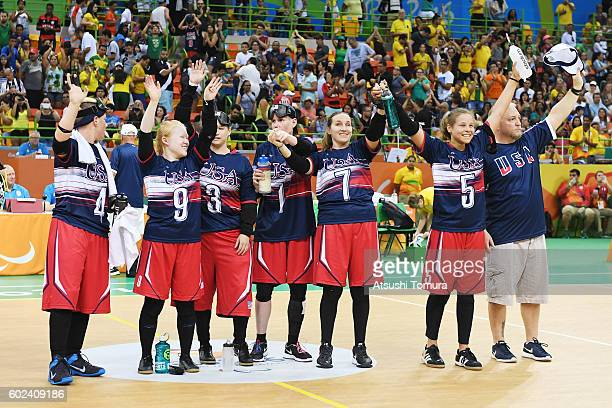 The USA team celebrate after winning the match against Japan in the women's Goalball on day 4 of the Rio 2016 Paralympic Games at Future Arena on...