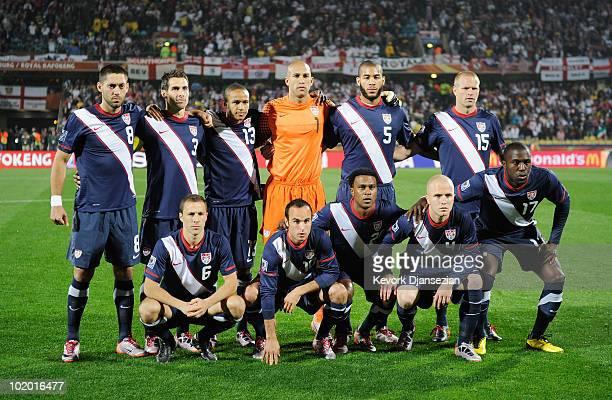 The USA team Clint Dempsey Carlos Bocanegra Ricardo Clark Tim Howard Oguchi Onyewu and Jay Demerit and Steve Cherundolo Landon Donovan Robbie Findley...