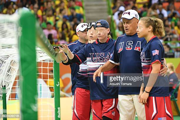 The USA team huddle prior to the match in the women's Goalball on day 4 of the Rio 2016 Paralympic Games at Future Arena on September 11 2016 in Rio...