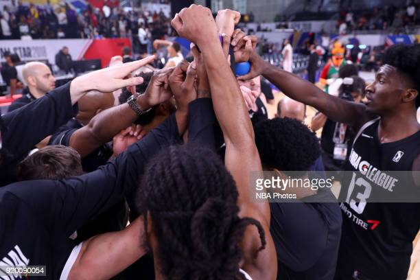 The USA Team huddles after the game against the Mexico National Team during the 2018 NBA G League International Challenge presented by Kumho Tire as...