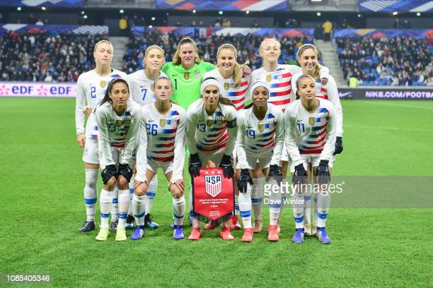 The USA team line up before the International Women Friendly match between France and United States at Stade Oceane on January 19 2019 in Le Havre...