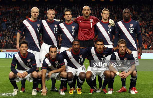 The USA team line up during the International Friendly between Netherlands and USA at the Amsterdam Arena on March 3 2010 in Amsterdam Netherlands