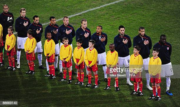 The USA team line up for the National Anthem during the FIFA Confederations Cup Semi Final between Spain and USA at the Free State Stadium on June 24...