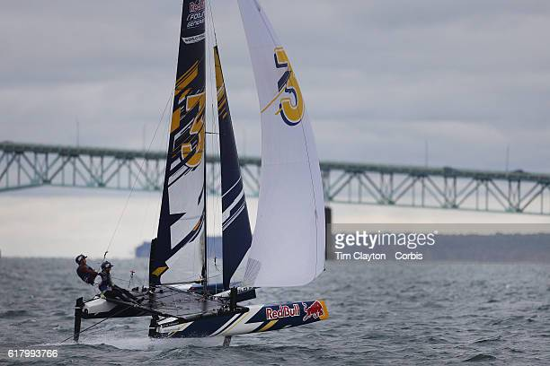 The USA team of Quinn Wilson and Riley Gibbs in action during the Red Bull Foiling Generation World Final 2016 on October 22 2016 in Narragansett Bay...