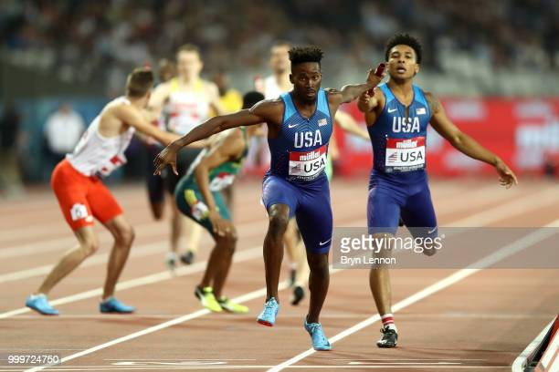 The USA team pass the baton during the Men's 4x400m Relay during day two of the Athletics World Cup London at the London Stadium on July 15 2018 in...