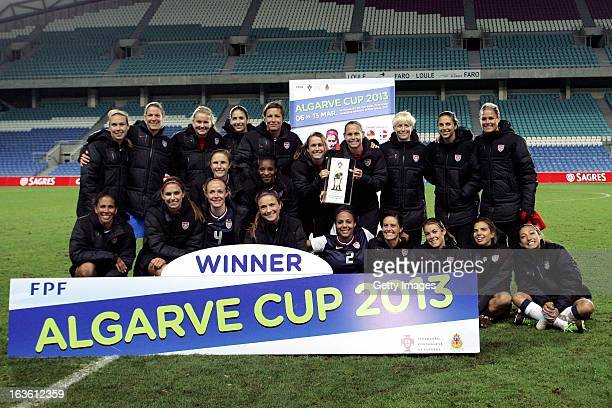 The USA team pose as the winners of the Algarve Cup 2013 Final at the Estadio Algarve on March 13, 2013 in Faro, Portugal.