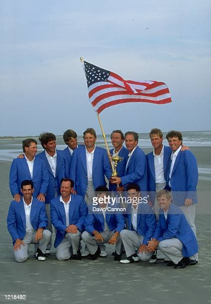 The USA team pose for a photograph after their victory in the Ryder Cup at Kiawah Island in South Carolina, USA. The USA team won the event with a...