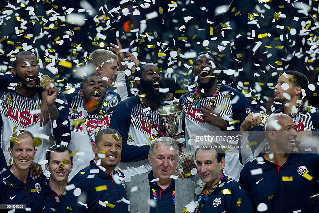 The USA team poses during the award ceremony after the 2014 FIBA World Basketball Championship final match between USA and Serbia at Palacio de los Deportes on September 14, 2014 in Madrid, Spain.