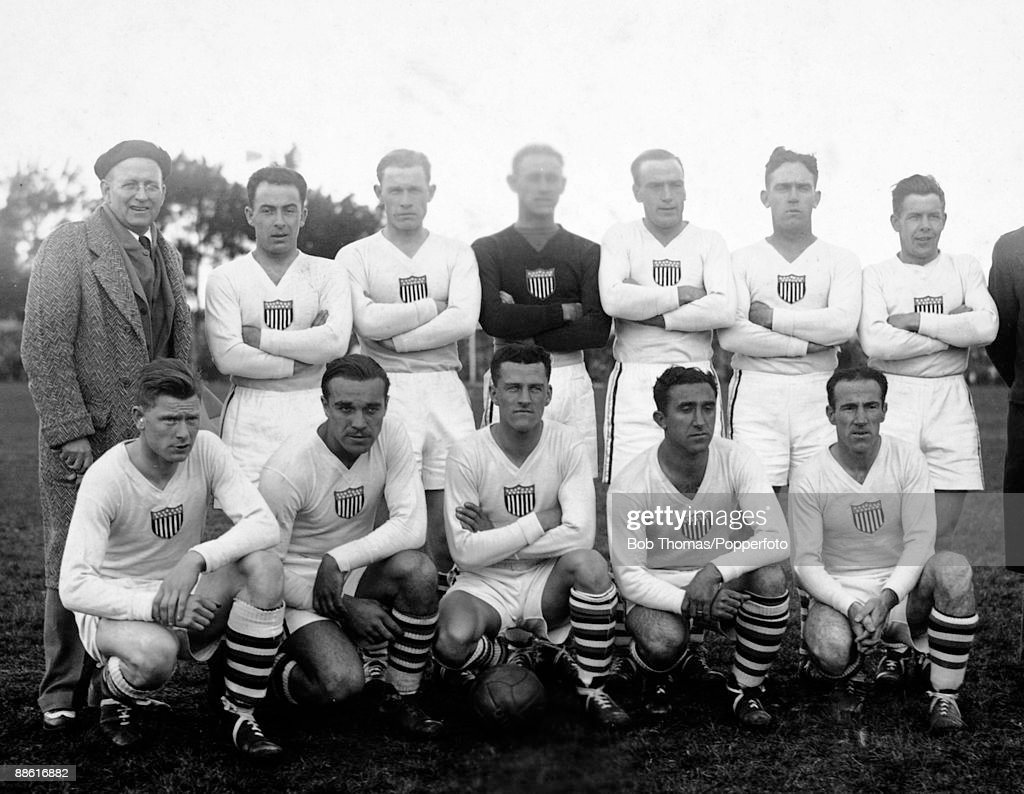 The USA team prior to their FIFA World Cup match against Belgium at the Parque Central in Montevideo, 13th July 1930. USA won 3-0. Back row (left-right): Robert Millar (coach), James Gallagher, Alexander Wood, James Douglas, George Moorhouse, Raphael Tracy, Andrew Auld. Front row: James Brown, William Gonsalves, Bertram Patenaude, Thomas Florie, Bartholomew McGhee.
