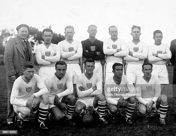 The USA team prior to their FIFA World Cup match against Belgium at the Parque Central in Montevideo 13th July 1930 USA won 30 Back row Robert Millar...