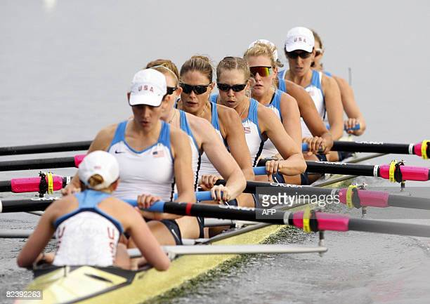 The USA team row to win gold in the women's Eight Final of the 2008 Beijing Olympic Games on August 17 2008 at the Shunyi Olympic RowingCanoeing Park...