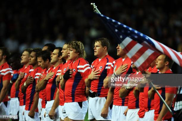 The USA team sign the national anthem during match fourty of the Rugby World Cup 2007 between South Africa and USA at the Stade de la Mosson on...