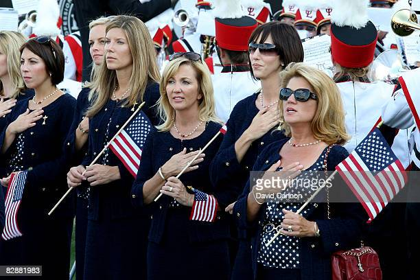 The USA team wives and partners including Toni Azinger stand during the National Anthem at the opening ceremony for the 2008 Ryder Cup at Valhalla...