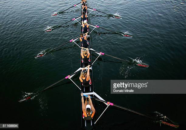The USA Women's Eight Team take to the lake for practice on August 14 2004 during the Athens 2004 Summer Olympic Games at the Schinias Olympic Rowing...