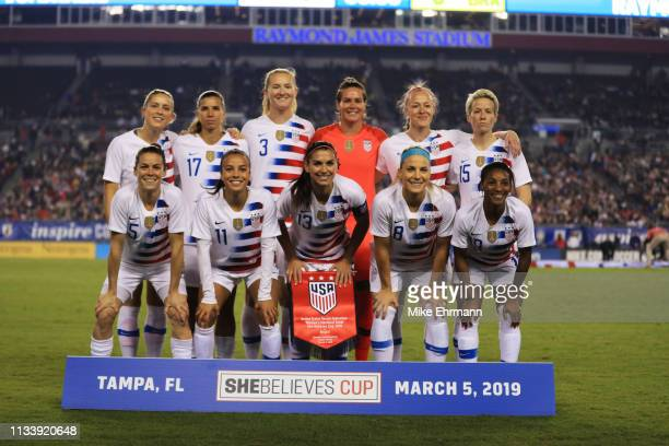 The USA Women's National team poses before a game against Brazil during the She Believes Cup at Raymond James Stadium on March 05 2019 in Tampa...
