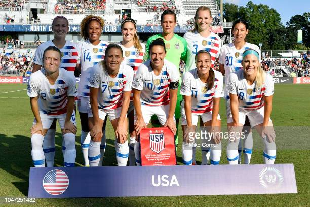 The USA Women's National Team poses for a team picture prior to their match against Panama at WakeMed Soccer Park on October 7 2018 in Cary North...