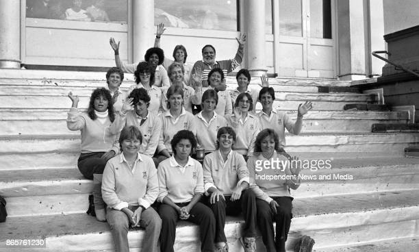 The USA women's rugby team at TCD looking at a women's hockey match circa October 1983