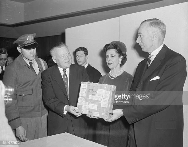The U.S.Acquired the fabulous Hope Diamond today for permanent display at the Smithsonian Institution. Mrs. Harry Winston, wife of the New York...