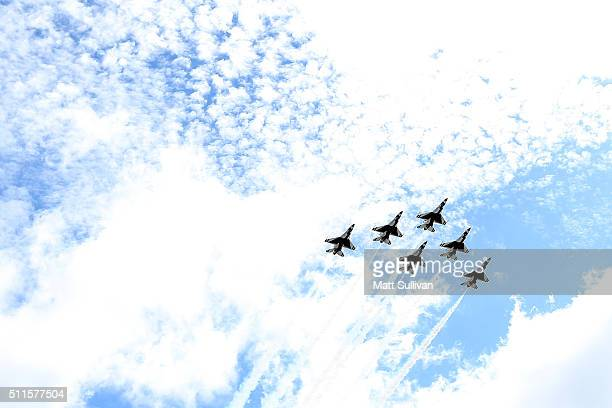 The USAF Thunderbirds flyover prior to the NASCAR Sprint Cup Series DAYTONA 500 at Daytona International Speedway on February 21 2016 in Daytona...
