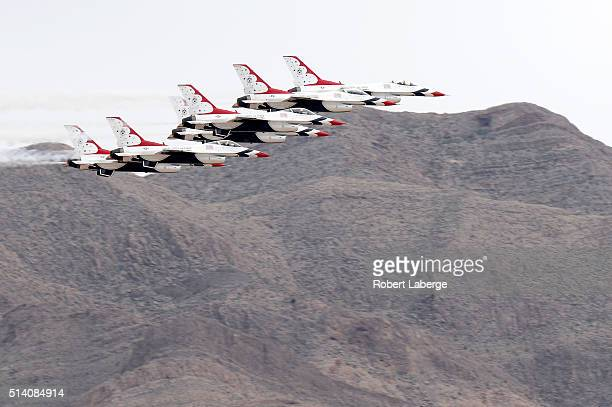 The USAF Thunderbirds flyover prior to the NASCAR Sprint Cup Series Koblat 400 at Las Vegas Motor Speedway on March 6 2016 in Las Vegas Nevada