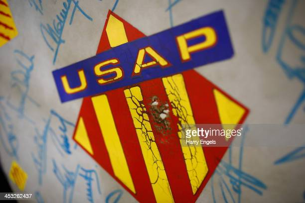 The USAP crest is seen on a drum prior to kick off during the Top 14 match between Perpignan and ASM Clermont Auvergne at Stade Aime Giral on...