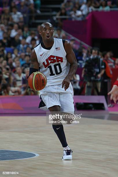 The USA's Kobe Bryant in action during the Men's Basketball Final between USA and Spain at the North Greenwich Arena during the London 2012 Olympic...
