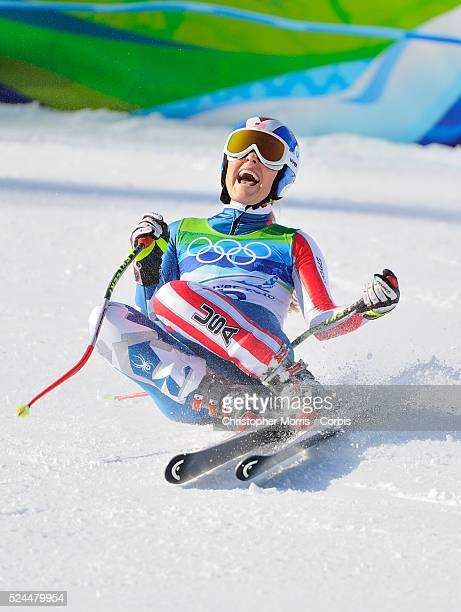 The USA's Lindsey Vonn reacts after finishing her gold medal run at the ladies downhill at Whistler on day 6 of the Vancouver 2010 Olympic Winter...