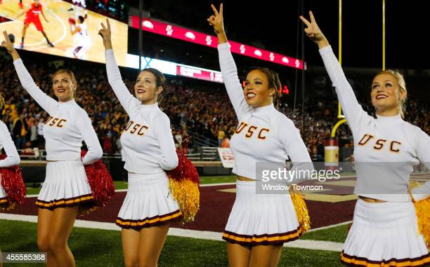 The USC cheerleaders during the game between the Boston College Eagles and the USC Trojans on September 13 2014 at Alumni Stadium in Chestnut Hill...