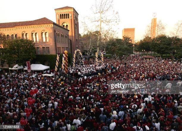 The USC football team appeared at a rally to celebrate their 2004 National Championship on the USC campus in Los Angeles California on Friday January...