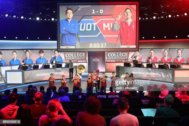 The USC marching band performs during the League of Legends College Championship Game between Maryville University and the University of Toronto at...