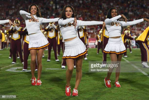 The USC Song Girls perform during a college football game between the Texas Longhorns and the USC Trojans on September 16 at Los Angeles Memorial...
