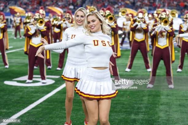 The USC Song Girls perform during the Cotton Bowl Classic matchup between the USC Trojans and Ohio State Buckeyes on December 29 at the ATT Stadium...