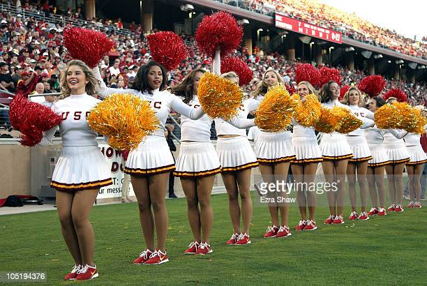 The USC Trojan cheerleaders cheer for their team during their game against the Stanford Cardinal at Stanford Stadium on October 9 2010 in Palo Alto...