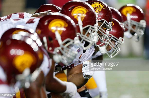 The USC Trojans at the line of scrimmage during the first half against the Boston College Eagles at Alumni Stadium on September 13 2014 in Chestnut...