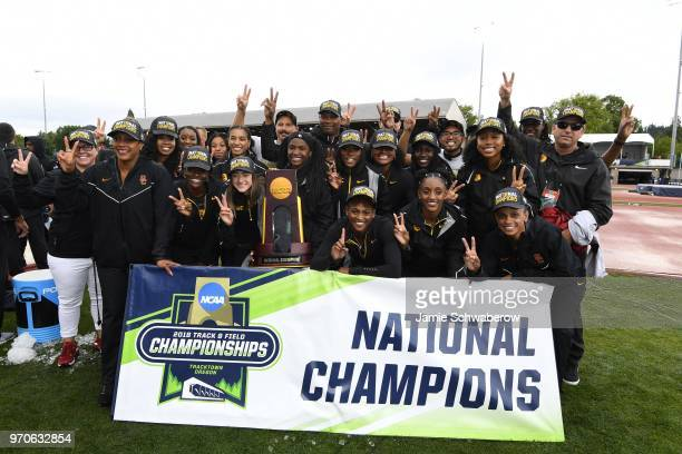 The USC Trojans celebrate after winning the team championship during the Division I Women's Outdoor Track Field Championship held at Hayward Field on...