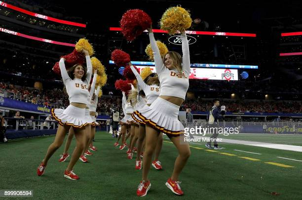 The USC Trojans cheerleaders during the Goodyear Cotton Bowl at ATT Stadium on December 29 2017 in Arlington Texas