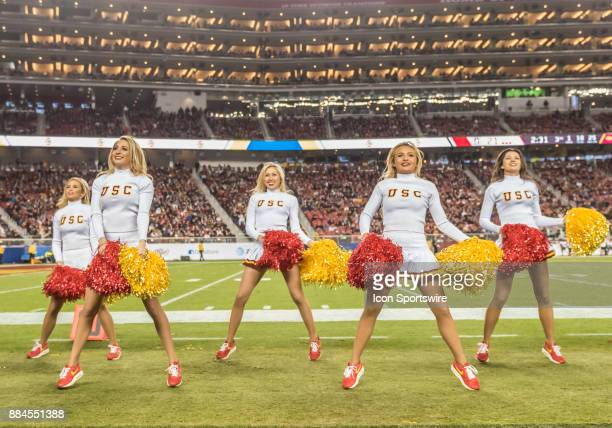 The USC Trojans cheerleaders performing a routine during the PAC12 Championship game between the USC Trojans and the Stanford Cardinals on Friday...