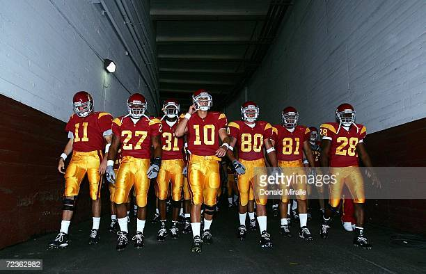 The USC Trojans enter the game against the Colorado State Rams on September 11, 2004 during their NCAA Football Game at the Coliseum in Los Angeles,...