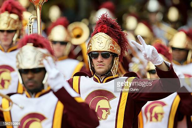The USC Trojans marching band performs before the game with the Washington Huskies at the Los Angeles Memorial Coliseum on November 12 2011 in Los...